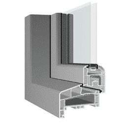 Dit is een kader-profiel met een kunststof raam erin. Het kader is van verdiept profiel gemaakt.