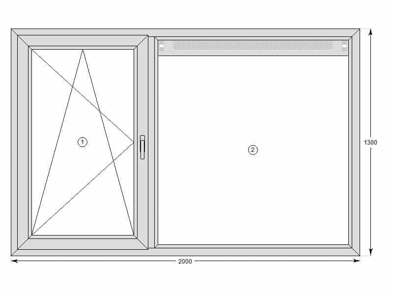 Dit is een slaapkamer-raam uit het voorbeeld. Een ventilatierooster in ...