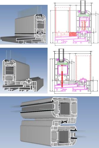 Kunststof hef-schuifpuien hebben een inbouwdiepte van 168 mm welke alle andere systemen overtreft. Hier ziet u de uitvoering van de profielen.