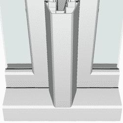 Een verdiept Hollandprofiel als kader heeft vaak ook verdiepte tussenstijlen tussen de ramen die in het kunststof kozijn zitten.