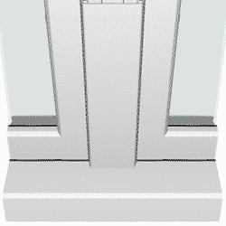 De andere mogelijkheid is een vlakke tussenstijl tussen de ramen van een kunststof kozijn met verdiept profiel.