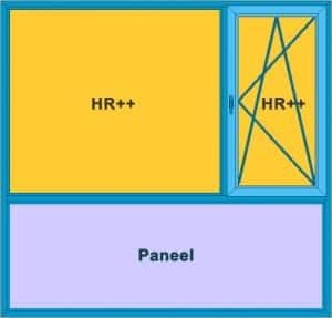 Voorbeeld kozijn om een garage dicht te maken met een kunststof pui. Dit voorbeeld heeft een draaikiep raam, vast glas en onder paneel.